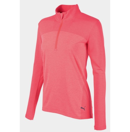 Puma Golf W Evoknit Seamless 1/4 Zip Bright Plasma