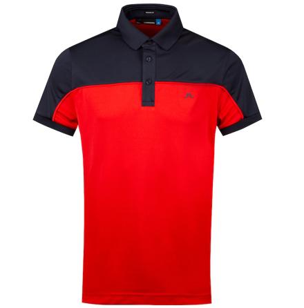 J Lindeberg Golf Mateo TX CoolMax Röd/Navy