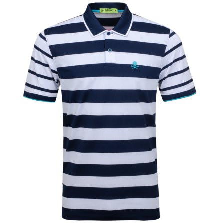 G/Fore Skull Stripe Polo Navy
